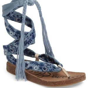 Sam Edelman KELBY Embroidered Lace Up Sandals 6M